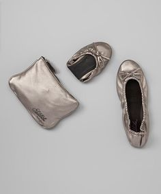 This Silver Metallic Foldable Ballet Flat is perfect! #zulilyfinds