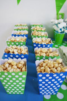 Popcorn Water party blue green food table