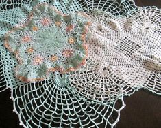 Cotton Lace Doilies 1930s 1940s Pink Green White Matching Set of 3- I have some of these my Grandmother made. So pretty!