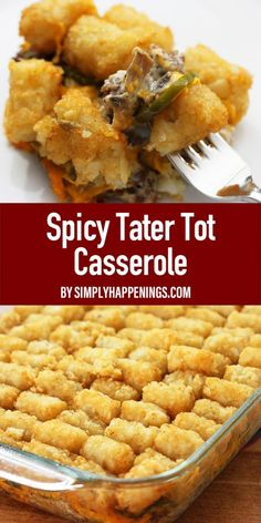 Spicy tater tot casserole includes layers of hamburger cooked with Worcestershire & hot sauce, cheese, cream of mushroom soup, sour cream, and jalapenos to give a nice kick to this family favorite dish. Makes a great freezer dish as well! Tater Tot Casserole, Hamburger Casserole, Ground Beef Casserole, Casserole Recipes, Ribs On Grill, How To Grill Steak, Simply Recipes, Simply Food, Creamed Mushrooms