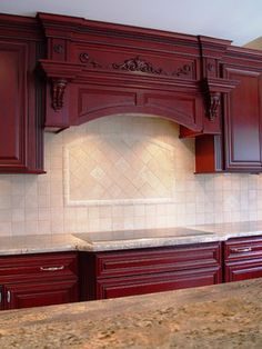 Glazed Red Bathroom Vanity | Regal Red Traditional Kitchen