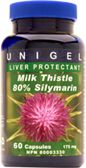 Unigel Milk Thistle 80% Silymarin 175 mg Capsules - 60 count  The exceptional benefits of Milk Thistle are due to its powerful antioxidant properties, which help to optimize health and well being.  Milk Thistle's effectiveness for all sorts of liver disorders is being confirmed today through laboratory studies and extensive clinical trials. The active ingredients in Milk Thistle are flavonoids comprised of silybin, silydianin and silychristin, collectively known as silymarin.
