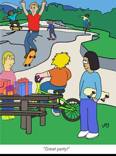 The youth of Sugar Town are in such great shape aren't they?! Personally, we wouldn't attempt such feats, but we're a little more cautious these days with our bones. What better way to celebrate with your buddies than a skate-park party though...Happy Birthday to all of you young men-folk in Sugar Town! Cute Happy Birthday, Happy Birthday Greeting Card, Funny Greeting Cards, Happy Birthday Quotes, Birthday Wishes Messages, Birthday Wishes Funny, Birthday Card Template, Young Men, Funny Happy