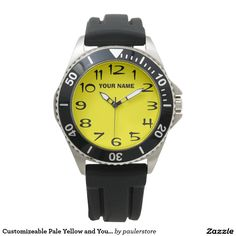 Customizeable Pale Yellow and Your Name Wrist Watch