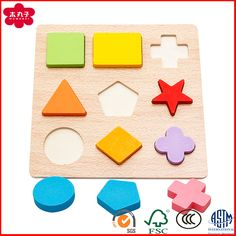 Lewo Wooden Puzzles Educational Toys Fruit Shape Color Sorter Stacking Block Chunky Puzzle for Baby Toddlers Boys Girls Muwanzi