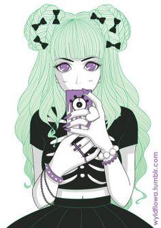 pastel Anime girl pastel goth green hair artists on tumblr chloe citrine wyldflowa