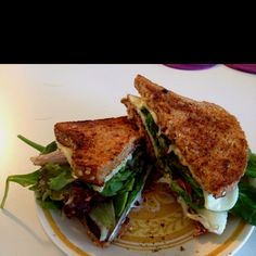 (No link, just pic) So easy to make! Olive oil both sides of whole wheat/whole grain bread. Toast 1 side of each slice on the stove, flip and toast the other side, add a piece of Munster cheese to each freshly toasted side and sandwich spring mix, arugula or spinach. Add prosciutto and/or tomato of you want... And I suggest dipping the sandwich in Rao's Marinara sauce