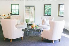 Louisa Tufted Chairs and the Clara Collection Coffee Table