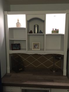 The finished piece. The new trim in a door molding kit form Home Depot $18.98. The finished piece is my wife's sewing center.