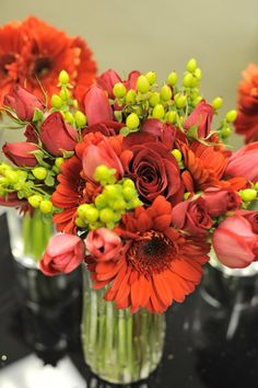 Red Bridesmaid Bouquets by Echelon Florist, Tennessee