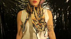 Kitty padded silk scarve  Cleo Ferin Mercury