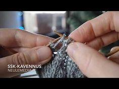 Ssk-kavennuksen nimi tulee englannin kielen sanoista slip, slip, knit. Samasta kavennuksesta käytetään muitakin nimiä, kuten kahden noston kavennus ja sen suomenkielinen lyhenne knk. Ssk-kavennuksen tarkoituksena on kääntää silmukat puikolla ja neuleessa toisin päin kuin ne olisivat tavallisessa kaksi yhteen -kavennuksessa. Engagement Rings, Crystals, Youtube, Wedding Rings, Commitment Rings, Diamond Engagement Rings, Engagement Ring, Youtubers, Crystals Minerals