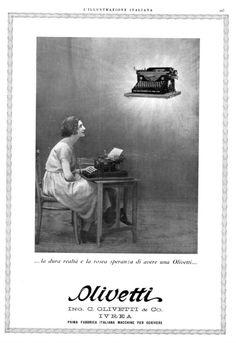 """Inserzione pubblicitaria per la macchina per scrivere M20, pubblicata sulla rivista """"L'Illustrazione Italiana"""" negli anni '20."""