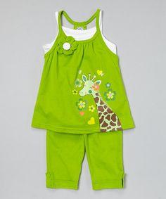 Look at this #zulilyfind! Lime Giraffe Tunic & Capris - Infant, Toddler & Girls #zulilyfinds
