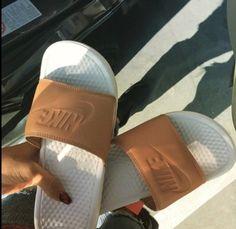 shoes nike white tan nike slippers nike benassi benassi sandals flip-flops