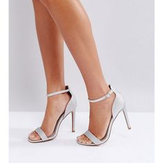 ASOS HANG TIME Barely There Heeled Sandals (2,025 MKD) ❤ liked on Polyvore featuring shoes, sandals, silver, silver high heel sandals, silver prom shoes, silver sandals, ankle wrap sandals and silver glitter sandals