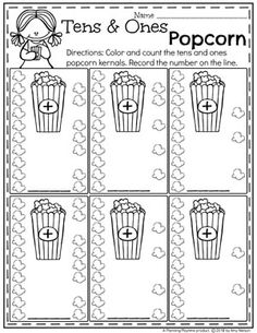 Kindergarten Place Value Worksheets - Tens and Ones Popcorn #placevalue #kindergartenmath #mathworksheets #kindergartenworksheets #placevalueworksheets