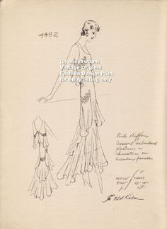 """late 1920 30s FASHION DESIGN """"Etching Style"""" Vtg Print of Sketch GOWN Model 4482"""
