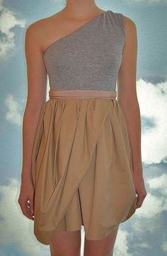 Carven Gray and Taupe One-Shoulder Bubble Hem Dress