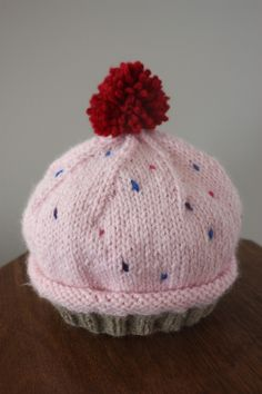 Kids Knit Cupcake Hat would make a great birthday gift for a kid turning one!