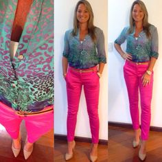 Look de trabalho - calça pink - camisa animal print - verde e rosa