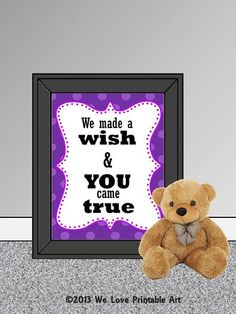 This printable nursery room sign features a purple bubble border and the words: We made a wish & YOU came true Nursery Artwork, Bedroom Art, Nursery Room, Girl Nursery, Baby Room, Nursery Ideas, Nursery Quotes, Nursery Signs, Room Signs