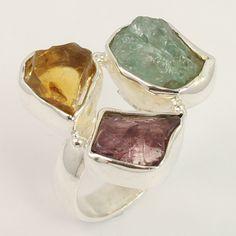 Natural AQUAMARINE, GARNET & CITRINE Gemstone 925 Sterling Silver Ring Size…
