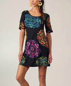 Look what I found on #zulily! Black & Blue Abstract T-Shirt Dress #zulilyfinds