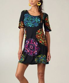 This Black & Blue Abstract T-Shirt Dress by Aller Simplement is perfect! #zulilyfinds $43.93 (reg. 75.90)