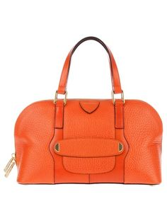 Orange leather bag from Marc Jacobs featuring two top handles, gold-tone hardware and a top zip fastening.