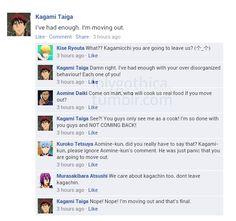 Kinda future-ish AU where Gom+Kagami are roomies. GoM+Kagami as requested by vampirepureblood.