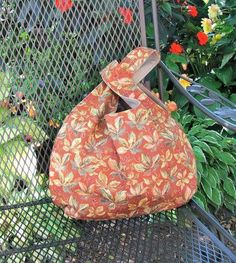 Autumn colors, Japanese Knot Knitting Bag Large Project Bag Rust Moss Green