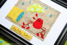 Itsy Bitsy Spider, so cute for a homemade baby gift? hang it in the nursery?