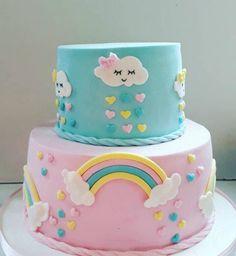 Cake Icing, Cupcake Cakes, Bolo Fack, Fondant Cake Designs, Baby Shower Images, Baby Birthday Cakes, Colorful Cakes, Rainbow Birthday, Girl Cakes