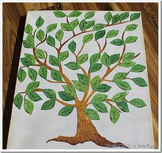 Three Chicks & One Egg: Family Tree Canvas using scrapbook paper