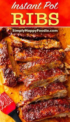 Instant Pot Ribs Recipe, Instant Pot Dinner Recipes, Costillitas Bbq, Bbq Ribs, Pork Recipes, Cooking Recipes, Chicken Recipes, Smoker Recipes, Ribs