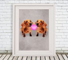 Burlesque Daschund Print, daschund Illustration, #art #painting @EtsyMktgTool http://etsy.me/2f0cxVR #kidsdecor #gicleeprint #dogpainting