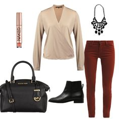 OneOutfitPerDay 2015-12-19 - #ootd #outfit #fashion #oneoutfitperday #fashionblogger #fashionbloggerde #frauenoutfit #herbstoutfit - Outfit des Tages Frauen Outfit Sommer Outfit Frühlings Outfit Herbst Outfit Winter Outfit Bluse Ankle Boot rot Slim Fit Jeans Jeans Handtasche Collier Michael Kors Zign Urban Decay Lee someday. Sweet Deluxea
