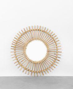 Miroir rotin forme soleil vintage nogu soleil et image for Mini miroir rotin
