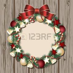 クリスマスの花輪では木製のドアの図 photo