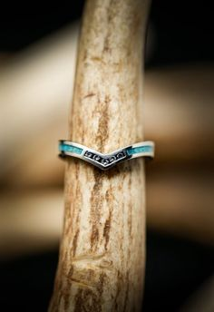 """Women's Wedding Band -""""Kida"""" - Gold V-Shaped Stacking Ring with Turquoise Inlays and Diamonds - Staghead Designs Or Rose, Rose Gold, Stacked Wedding Bands, Ring Pictures, Womens Wedding Bands, Unique Rings, At Least, White Gold, Wedding Stuff"""