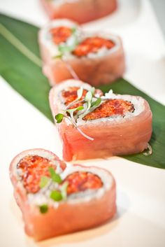 Is it possible for us to love fresh sushi as a wedding appetizer more? When they're heart-shaped rolls, yes! @Mandy Bryant Dewey Seasons Bridal @Mandy Bryant Dewey Seasons Bridal More