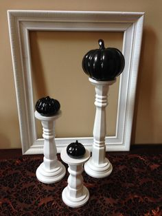 Wood Candlestick Pillars in White Set of 3 by NellieRoseDesigns