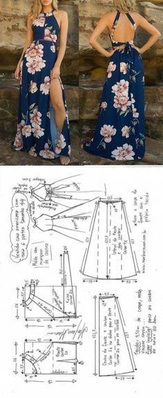 Vestido longo cava americana com saia de 6 gomos   DIY - molde, corte…