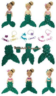 Little Crochet Mermaid ~ Fits the Kelly doll by Mattel ~ Crochet Pattern is in the works...