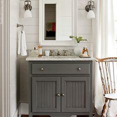 Southern_Living #Bathroom #Vanity _Gray_Vanity_Planked_Walls