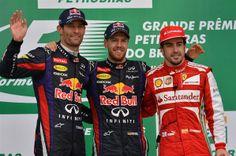Brazilian GP 2013 Podium First place Sebastian Vettel Infiniti Red Bull Racing  Second place Mark Webber Infiniti Red Bull Racing  Third place Fernando Alonso Scuderia Ferrari