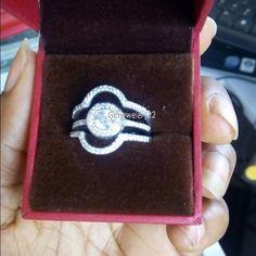 14K White Gold Diamond Bridal Set Engagement Ring Womens Trio Wedding Bands #giftjewelry22 #WeddingEngagementAnniversaryBridalRingSet