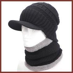 warmer winter hat knit cap scarf cap Winter Hats For men knitted hat men  Beanie Knit ba5e86010528