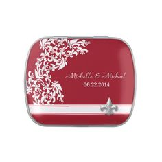 These White Red Fleur de Lis Pattern Wedding candy tins are the perfect small favor for your New Orleans wedding! Fill with mints or other Jelly Belly candy flavors.